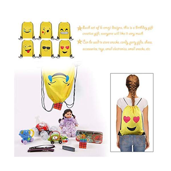Emoji Bolsas de Cuerdas BESTZY 6PCS Mochilas Petate Emoticonos Emoji Mochilas Petates Infantiles Bolsas Regalo…
