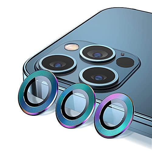 IEMY 3PCS Protector Cámara para iPhone 12 Pro MAX, Protector de Lente de cámara de Anillo Borde de Metálico Protector Metálico de Vidrio Cristal Templado Cámara Trasera Lente,Patrón de CD-Auro