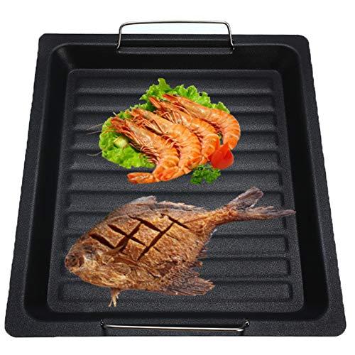 Romote Plate Non Bâton BBQ Grill Fonte Gril Pan Stove Top Grill Intérieur Grill Pan Plaque De Cuisson Grill pour Camping en Plein Air Voyage
