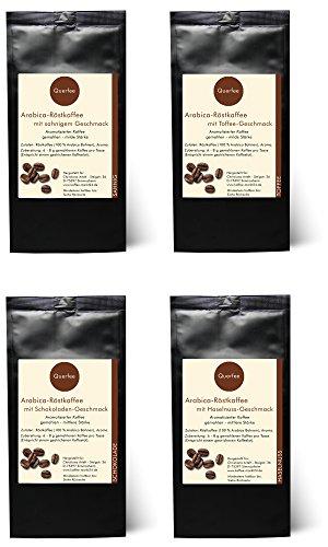 4 x Kaffee mit Geschmack Geschenkset Probierset - Sahne, Toffee, Schokolade, Haselnuss - Arabica Röstkaffee mit Aroma - gemahlen - 4 x 75 g (300 g insgesamt)