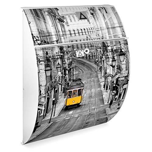 Burg Wächter Standbriefkasten mit Edelstahl Ständer | Riviera 46cmx33,5cmx13cm groß | verzinkter Stahl Weiß | Postkasten freistehend, großer A4 Einwurf, 2 Schlüssel | Briefkasten mit Motiv Lissabon