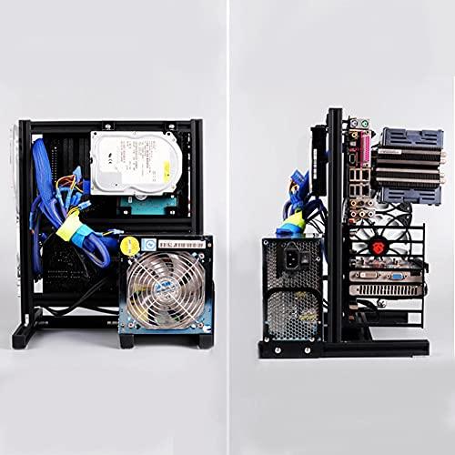 Boîte Ouverte pour Ordinateur, Kit de Carte Mère pour Ordinateur de Jeu de Bricolage, Boîte Ouverte Atx/M-Atx/Itx, Boîte Ouverte à Cadre en Aluminium.(noir)