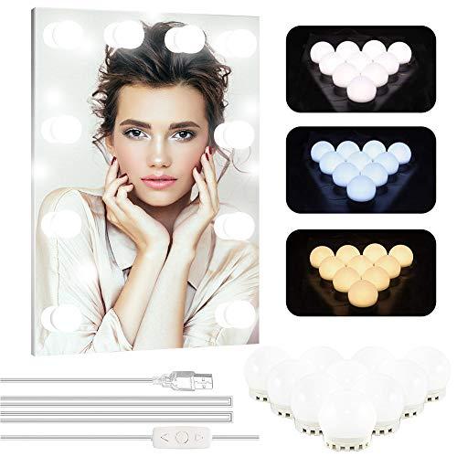 Makeup Licht LED Spiegelleuchte für Schminktisch Beleuchtung Hollywood Stil Dimmbare Schminklicht für Kosmetikspiegel/Badzimmer Spiegel, Kühles Weiß und Warmesweiß