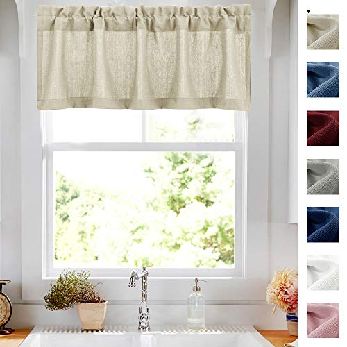 18 inch Valances for Windows Privacy Casual Weave Semi Sheer Kitchen Curtain Valance Beige 1 Panel
