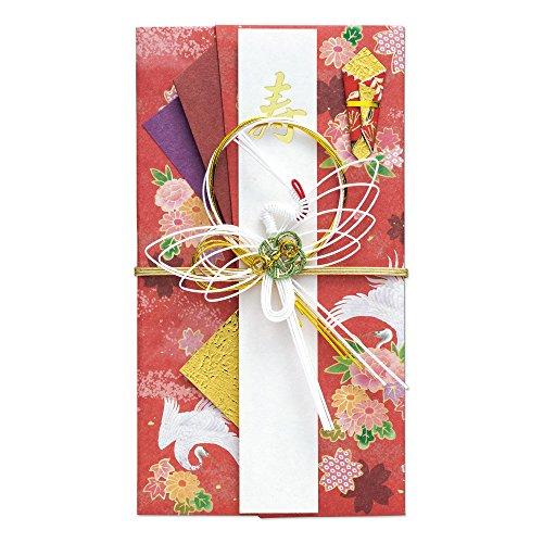 マルアイ 祝儀袋 結婚式 デザイン 和風 鶴コレクション 華 赤 5枚 キ-638R×5P