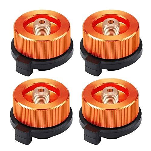 Aodoor Adaptador de Gas, Botella de Gas, Adaptador de Quemador de Estufa de conexión de Estufa convertidor para Actividades al Aire Libre de Picnic de Campamento (4 Piezas, Naranja)