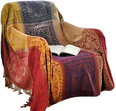 Best amorus Chenille Jacquard Tassels Sofa Throw Cover, Throw Blankets for Couch Bed Decorative Sofa Slip