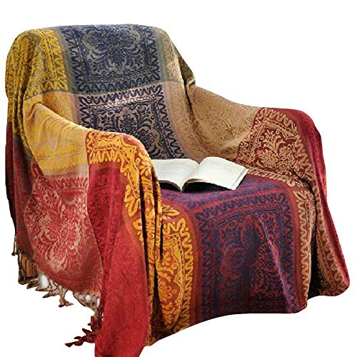 amorus Boho Sofa Throw Cover, Chenille Jacquard Tassels Throw Blankets for Couch Bed, Decorative Sofa Slipcover Protector Bed Cover - Colorful Tribal Pattern (L)