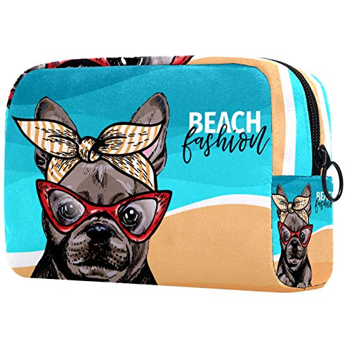 Maquillaje Cosmético Bolso Monedero para Mujer, Moderno y Espacioso Bolso de Mano Bulldog francés Perro Weas Gafas de Sol