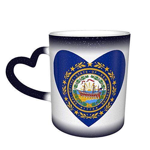 Hdadwy Bandera de New Hampshire Taza de cielo estrellado que cambia de color del corazón Taza mágica de café en forma de corazón