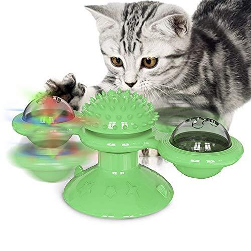 GHONLZIN Windmühle Katzenspielzeug, Katzenspielzeug Plattenspieler, Interaktives neckendes Katzenspielzeug, Scratching Tickle Tool mit LED-Leuchten (Green)