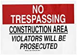 Brady 126857 Construction Site Sign, Legend'No Trespassing Construction Area Violators Will Be Prosecuted', 10' Height, 14' Width, Black and Red on White