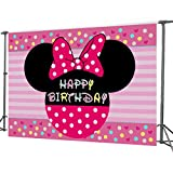 7x5FT Minnie Mouse Photography Vinyl Photo Background for Kids Birthday Party Backdrops Decoration (Minnie)