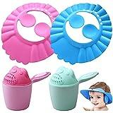Baby Shampoo Cap Augenschutz und Ohrenschutz Einstellbare Kinder Duschhaube Haare waschen ohne Tränen Baby Shampoo Schutz Augenschutz Dusche Badeschutz weicher Kappen Hut mit Baby Shampoo Cup