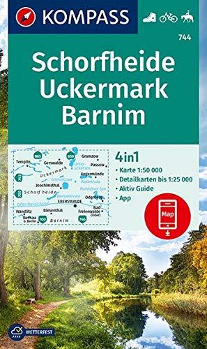 KOMPASS Wanderkarte Schorfheide, Uckermark, Barnim: 4in1 Wanderkarte 1:50000 mit Aktiv Guide und Detailkarten inklusive Karte zur offline Verwendung ... Reiten. (KOMPASS-Wanderkarten, Band 744)