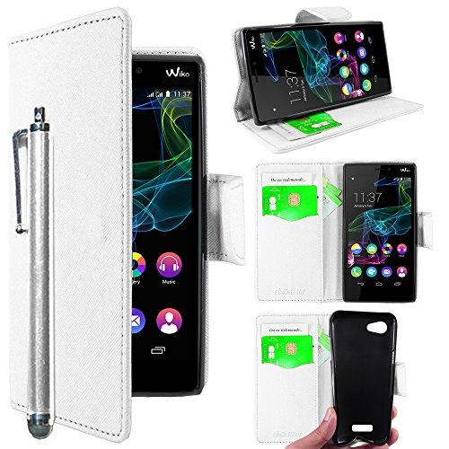 ebestStar - kompatibel mit Wiko Ridge 4G Hülle Kunstleder Wallet Hülle Handyhülle [PU Leder], Kartenfächern, Standfunktion + Stift, Weiss [Phone: 143 x 72 x 7.5mm, 5.0'']