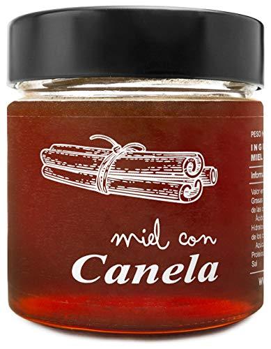 Miel con Canela - 100{e39e6fb1907087d0292fbc6cf814745bafcfa886a9c520d86176e5fc80440a55} Natural Pura de Abeja, Cruda, 300gr - Origen: El Bierzo, España