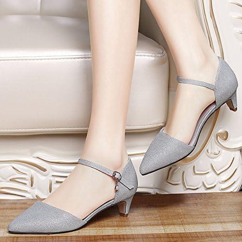 KHSKX-Seule Chaussure Au Printemps Et à L'été De Nouveau Des Chaussures Pour Femmes D'Argent Dans La Mode Et L'Argent