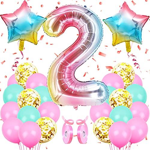 Globos de Cumpleãnos 2 Rosado, Decoracion Cumpleaños Niñas, Globos Grandes Gigantes Helio Rosado, con 24 globos de confeti de látex, decoración de aniversario de fiesta de cumpleaños