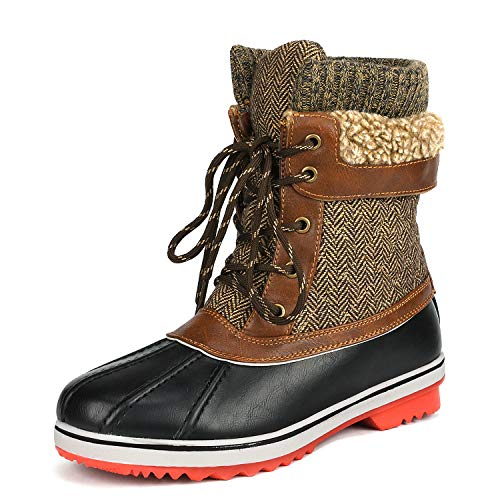 DREAM PAIRS Women's Monte_01 Brown Mid Calf Winter Snow Boots Size 10 M US