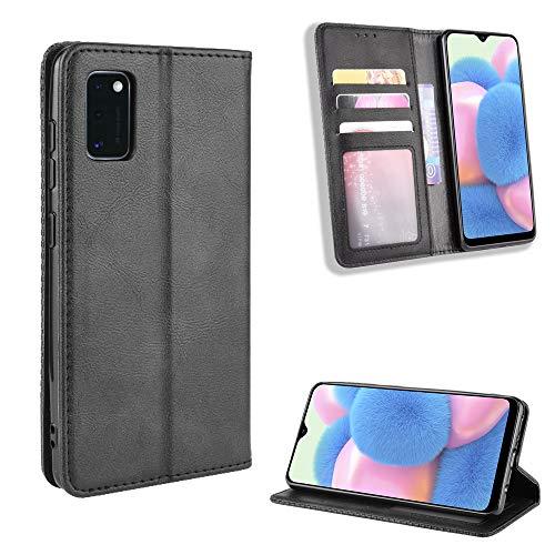LODROC Galaxy A41 Hülle, TPU Lederhülle Magnetische Schutzhülle [Kartenfach] [Standfunktion], Stoßfeste Tasche Kompatibel für Samsung Galaxy A41 - LOBYU0100137 Schwarz