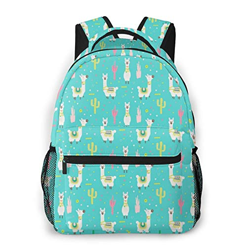 Happy Llama Unisex Polyester Canvas Casual Fashion Large Capacity Multi Function Backpack