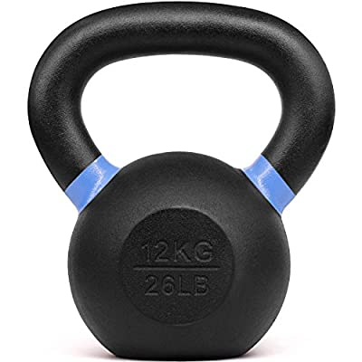 Yes4All Powder Coated Kettlebell Weights with Wide Handles & Flat Bottoms–12kg/26lbs Cast Iron Kettlebells for Strength, Conditioning & Cross-Training, Size D-12 KG/26 LB (SD7M),E -Blue- 12 KG / 26 LB from Yes4All