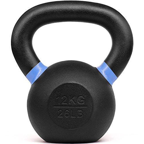 Yes4All Powder Coated Kettlebell Weights with Wide Handles & Flat Bottoms–12kg/26lbs Cast Iron Kettlebells for Strength, Conditioning & Cross-Training, Size D-12 KG/26 LB (SD7M),E -Blue- 12 KG / 26 LB