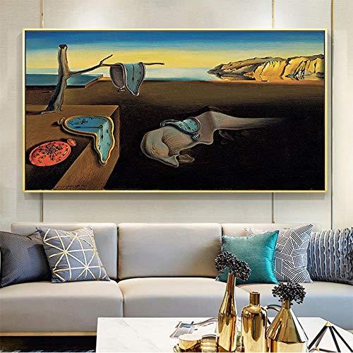 Modern Leinwand Malerei Salvador Dali Die Beständigkeit der Erinnerungsuhren Surreale Druckmalerei Poster Art Wandbilder für Wohnzimmer Home Decor 50 * 75cm