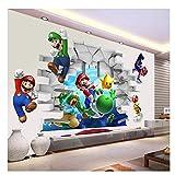 Super Mario Bros Juegos para niños Pegatinas de pared 3D View Art Pegatinas de pared Calcomanías Mural Decoración para el hogar Pegatinas de pared 50x70cm