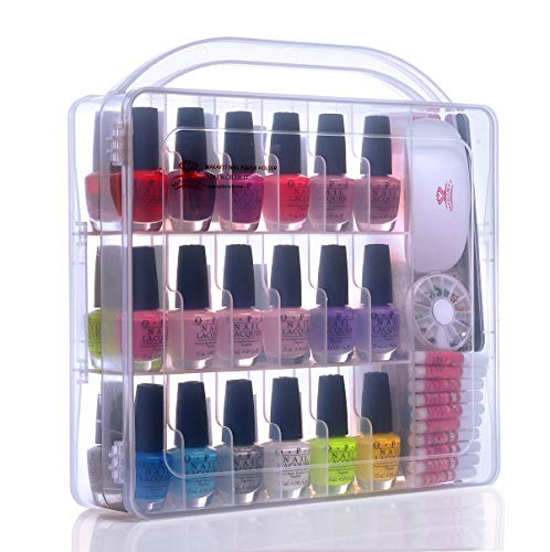 Makartt Portable Gel Nail Polish Organizer Poly Nail Extension Gel Nail Tools Holder for 36 bottles- with Large Separate Compartment for Manicure Tools See-through Universal Case, N-02