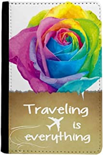 Rainbow Gay Lesbian Flower LGBT Traveling quato Passport Holder Travel Wallet Cover Case Card Purse