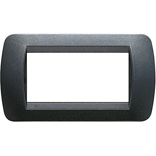 BTicino L4804PA Placca 4 Moduli Livinglight, Acciaio Scuro