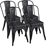 Yaheetech 4pcs Metal Dinning Chairs with PU Leather...
