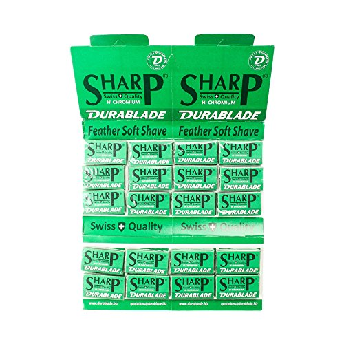 100 SHARP STAINLESS Polymer Coated Double Edge Safety Razor Blades by SHARP