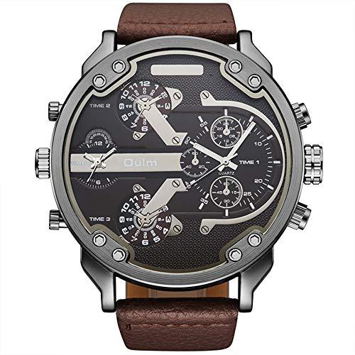 Relojes De Pulsera Personalizados para Hombres Reloj De Cuarzo con Doble Zona Horaria Grande Cronógrafo con Correa De PU Dial No Impermeable para Decoración De Ocio Juvenil