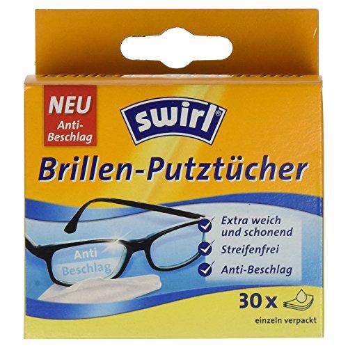 Swirl Brillen-Putztücher - Feuchte Brillenreinigungstücher mit Anti-Beschlag-Effekt für klare Sicht, 1 x 30 Stücke