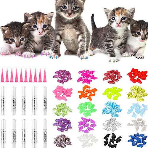 WILLBOND 200 Pezzi Colorati Tappi per Unghie di Gatto Morbidi Gatti Copri Unghia Artiglio con 10 Pezzi Colle Adesivo e 10 Pezzi Applicatori con Istruzioni per Animali Domestici Gatti
