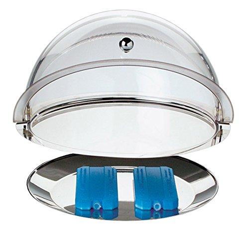 Thermo-Set aus SAN Kunststoff & Edelstahl 18/0, 5-teilig: 1 Tablett tief + 1 Tablett flach + 2 Kühlakkus + 1 Rolltophaube/Ø 38 cm, Höhe: 24 cm | SUN (A1 - Thermo-Set)