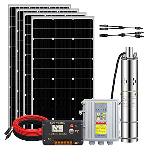 Pumplus 24V 400W Submersible Deep Well Pump Kit, 140W 3'' Deep Well Submersible Pump, 30A Charge Controller and 16ft Solar Cable for Irrigation Water Supply, Circulation, Garden