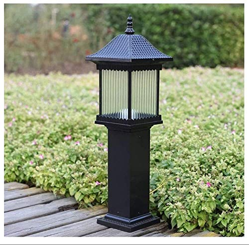 ZGGYA Street Lamp Aluminum Garden Post Bollard Light, European Traditional Victorian Landscape Lighting Fixture Waterproof Outdoor Lawn Garden Villa Glass Column Lantern, E27 Decoration Post Light