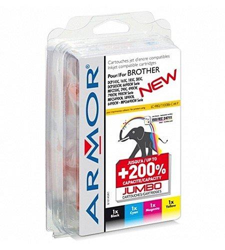 4 x Patronen für Brother MFC 490 CW (je Farbe 1x) Armor Druckerpatronen kompatibel für MFC490, je 18ml