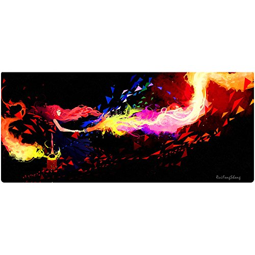 Ruifengsheng Extended Gaming Mouse Pad XXL Mouse Mat Large Mouse Pad Non-Slip Professional Precision Tracking Surface (35.4' x 15.7') 90x40 (90x40 Torch019)