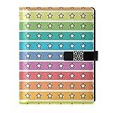 Quaderno A5 con stelle colorate a righe, con 6 anelli, ricaricabile, per tag1