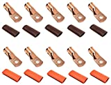 """10pcs 2/0 Gauge 2/0 AWG x 5/16"""" Pure Copper UL Listed Cable Lug Terminal Ring Connectors with Dual Wall Adhesive Lined Red + Black Heat Shrink Tubing – by WNI"""