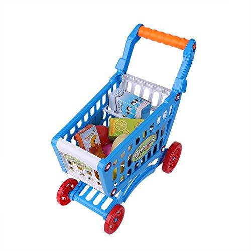 Carrello della Spesa per Bambini, Giocattolo educativo Carrello per la Spesa per Bambini Set da Gioco Set da Gioco da supermercato Bambini, Sviluppo dell apprendimento dei Bambini(Blu con Il Cibo)