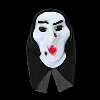 LFOZ White Clown Mask with Red Hair Adult Face Mask Realistic Printed for (Color : A)