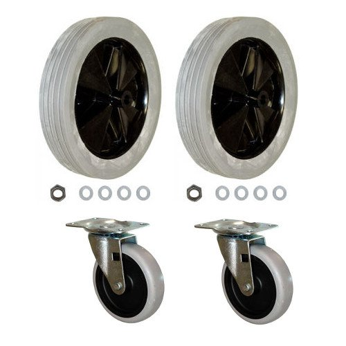 Rubbermaid Commerical Tilt Truck Replacement Wheels for 1011 Tilt Truck, Set of 2 Large and 2 Small Wheels