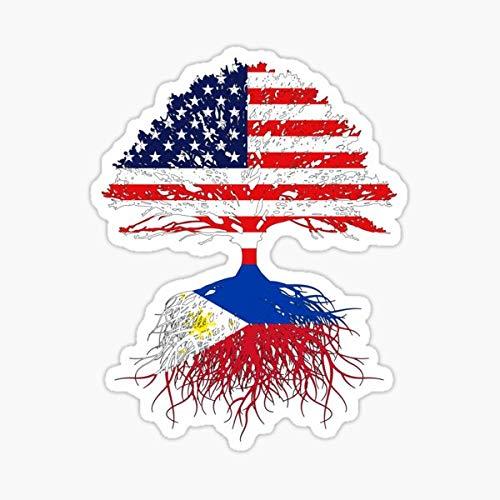 Filipino Roots, Filipino American, Filipino Grown, Philippines USA Flag, Art Design Present Gift Men Women Kids Youth Family Sticker - Peel and Stick - Sticker Graphic - Die Cut Vinyl