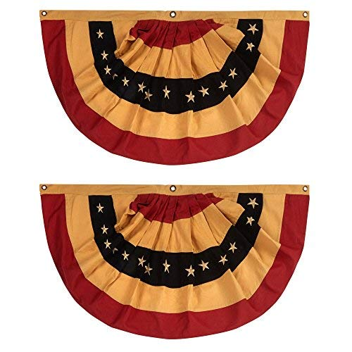 """SET of TWO 100% Cotton American Primitive Tea Stained Flag Bunting 40""""x 20""""with Embroidered Stars"""